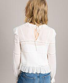 Blouse de georgette et dentelle Blanc Neige Femme 191TP2120-03