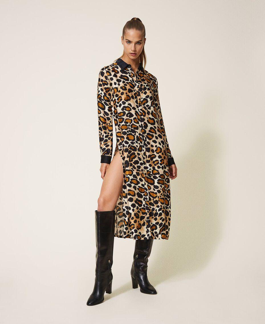 Shirt dress made of animal print satin Animal Print Woman 202LL2EGG-01