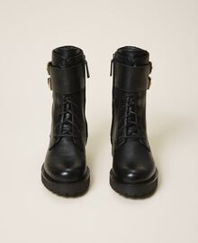 Combat boots with double buckle Black Woman 202TCT112-05
