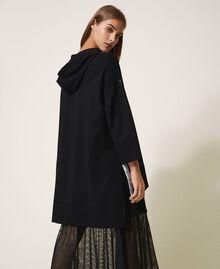 Maxi sweatshirt with patent leather inlays Black Woman 202LI2JAA-04