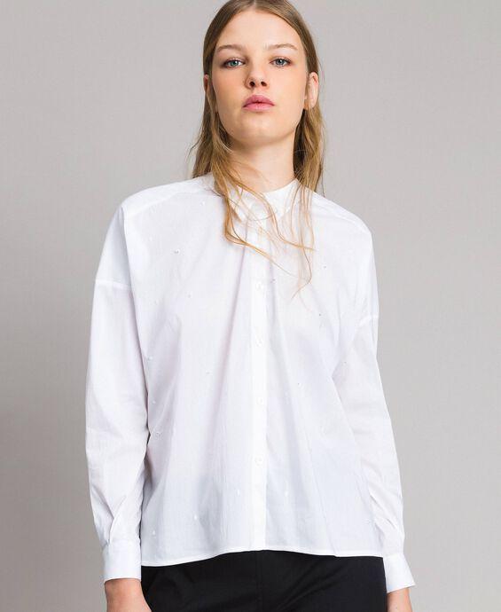 Poplin shirt with polka dot embroidery