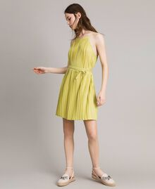 "Pleated lurex dress ""Lemon Juice"" Yellow Woman 191LB23FF-02"