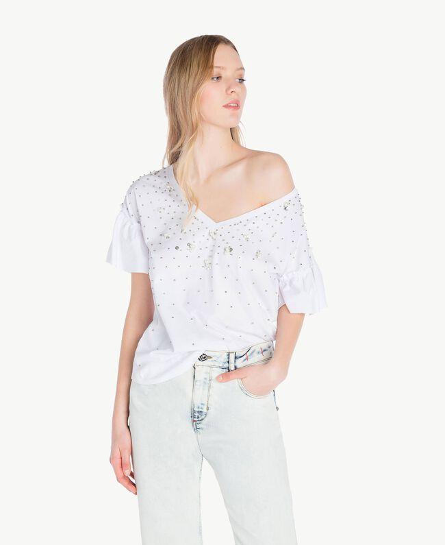 T-shirt broderie Blanc Femme YS82E3-01
