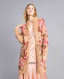 """Cappotto in mohair jacquard Jacquard Fiorato Beige """"Cookie"""" Donna TA831N-02"""