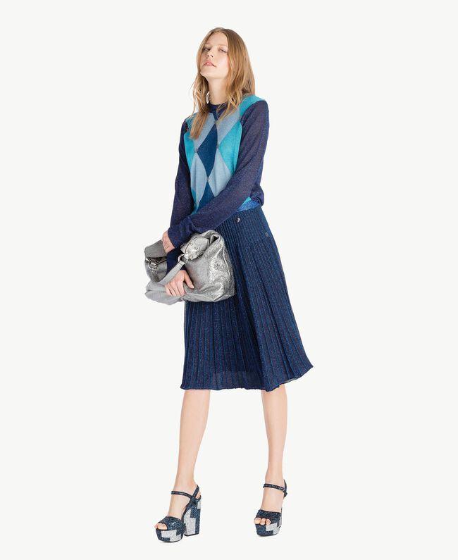 TWINSET Glitter sandals Two-tone Dark Blue / Glitter Silver Woman CS8PL1-05