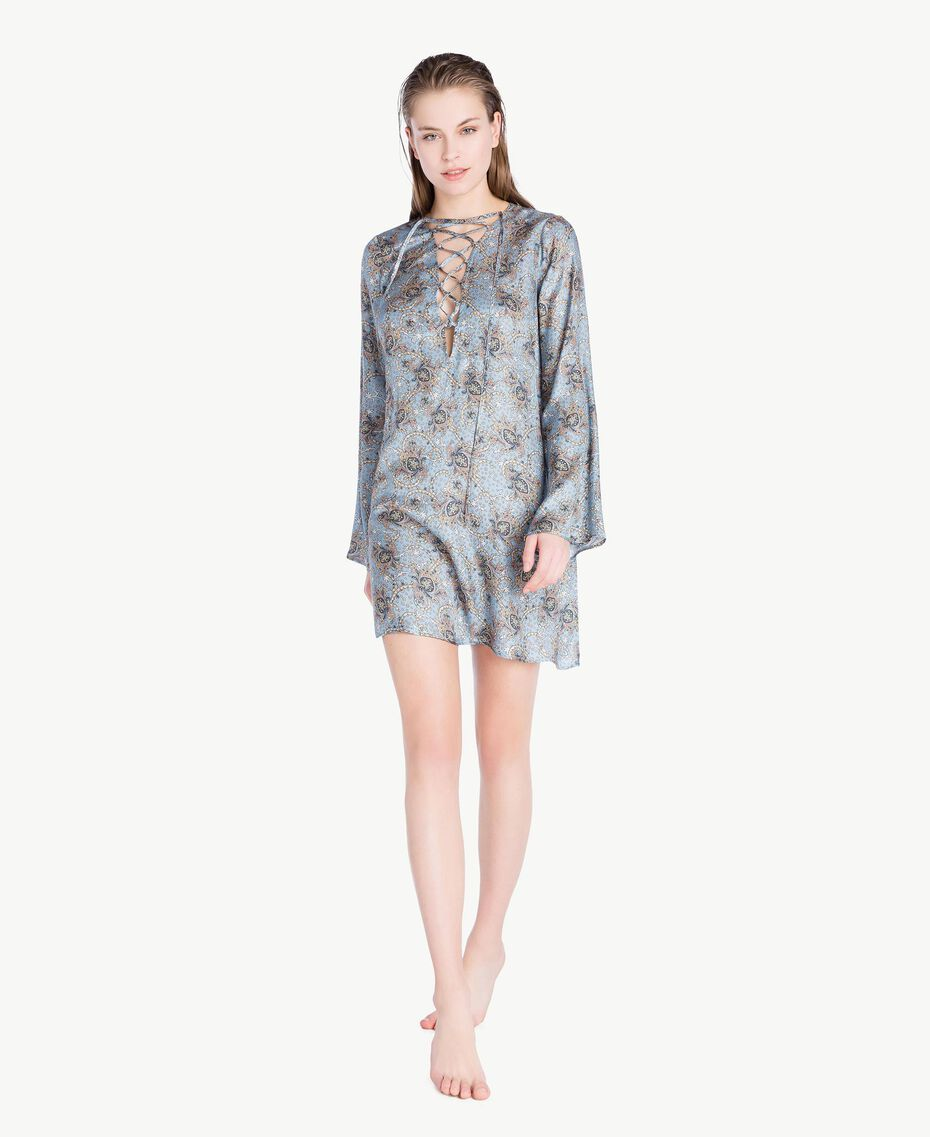 Printed kaftan Dallas Blue Paisley Print Woman BS8GKK-02