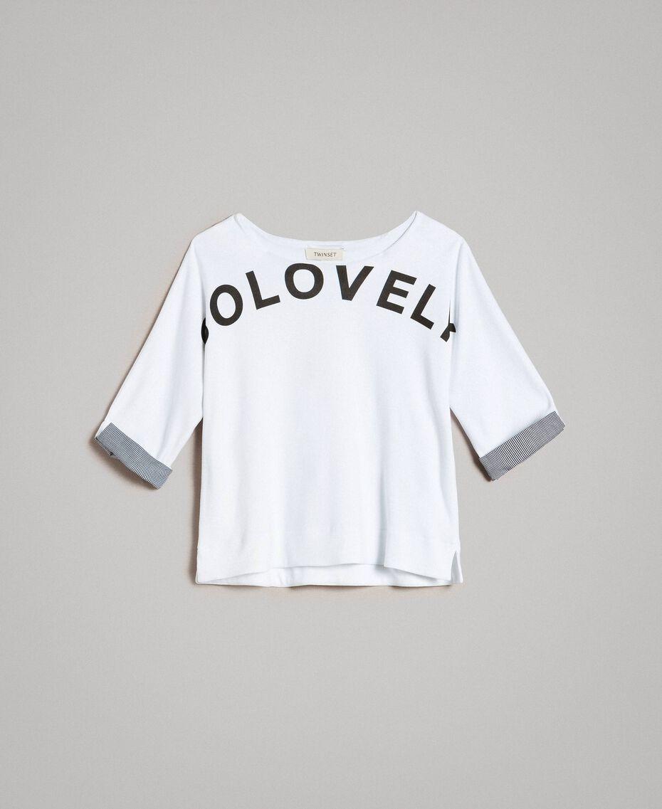 Sweat shirt au point de Milan avec détails en vichy Bicolore Blanc Optique / Vichy Enfant 191GJ2732-01