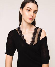 Minivestido de lino mixto con combinación Negro Mujer 201MT3021-04