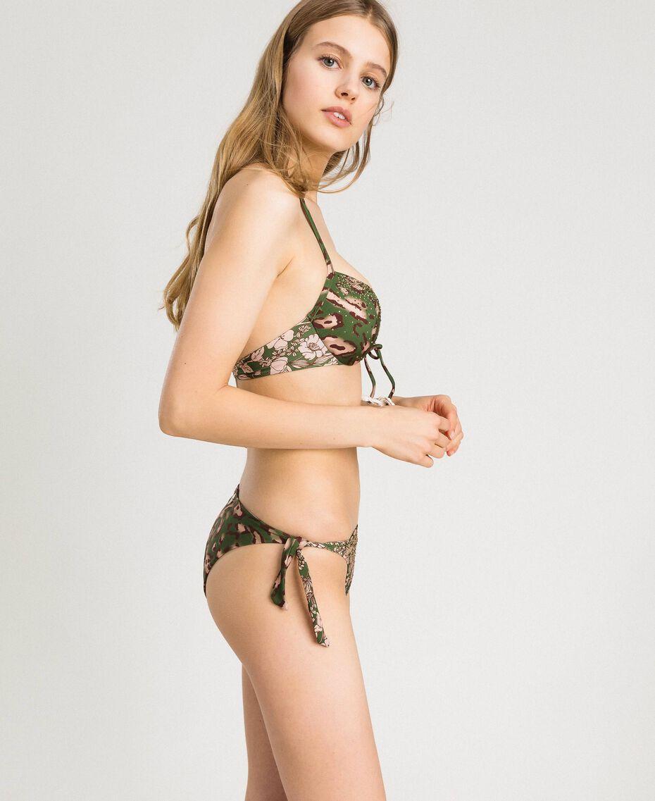 Push-up-Bikinitop mit Animal-Print und Strass Motiv Tiere Amazonasgrün Frau 191LMMU44-0S