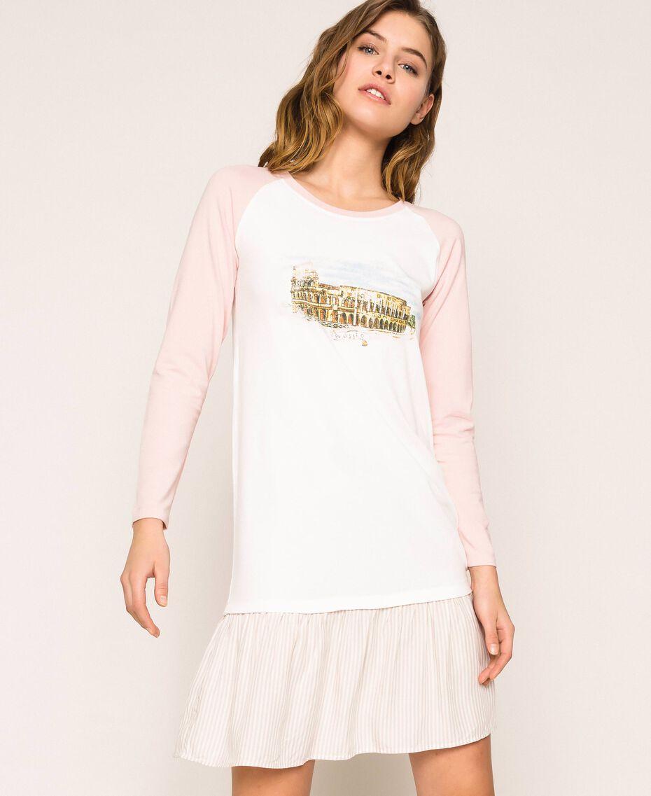 """Camicia da notte con balza Rosa """"Peachskin"""" Donna 201LL27AA-01"""