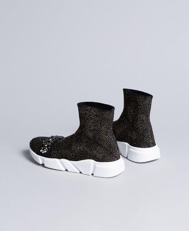 Sneakers in tessuto stretch con castoni Nero Donna CA8TNC-03