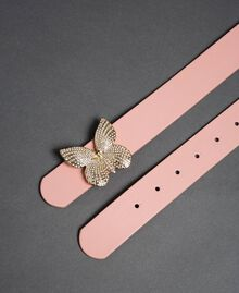 Leather belt with butterfly buckle, regular Mousse Pink Woman 192TA430F-03