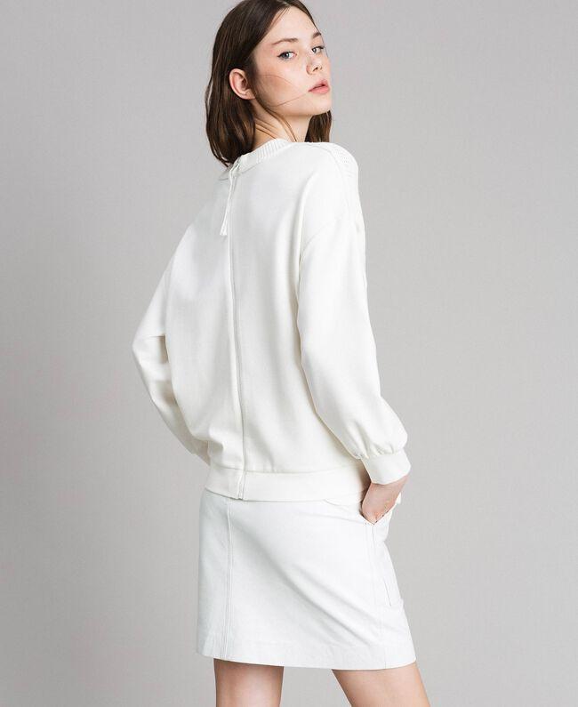 """Sweat shirt en maille de coton et au point de Milan Blanc """"Soie"""" Femme 191TP2071-03"""
