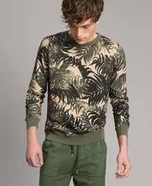 "Crêpe cotton printed jumper All Over ""Palms"" Camouflage Print Man 191UT3060-01"