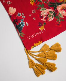 Floral scarf with tassels Pomegranate Meadow Print Woman 192TA4424-02