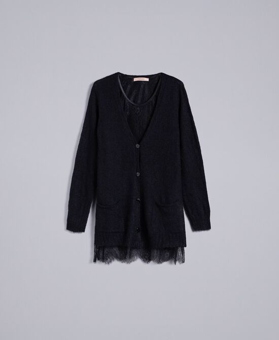 Cardigan in mohair con top in pizzo