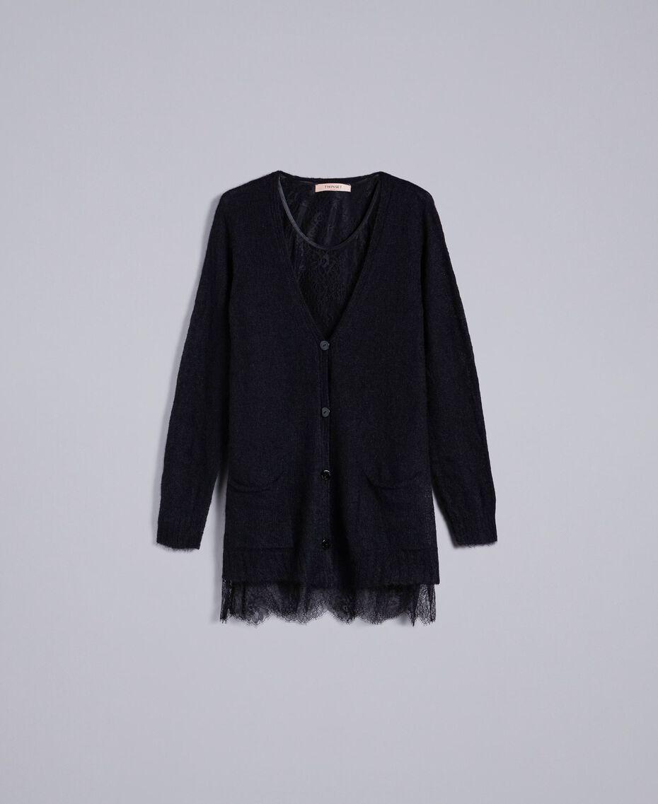 Cardigan aus Mohair mit Unterhemd aus Spitze Schwarz Frau PA836D-0S