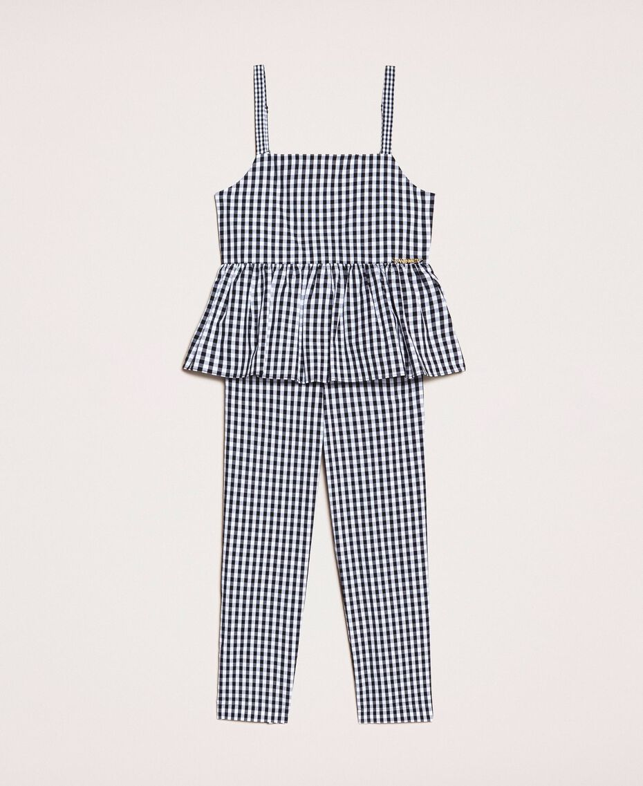 Gingham jumpsuit with flounce Vichy Jacquard Mix Child 201GB2091-01