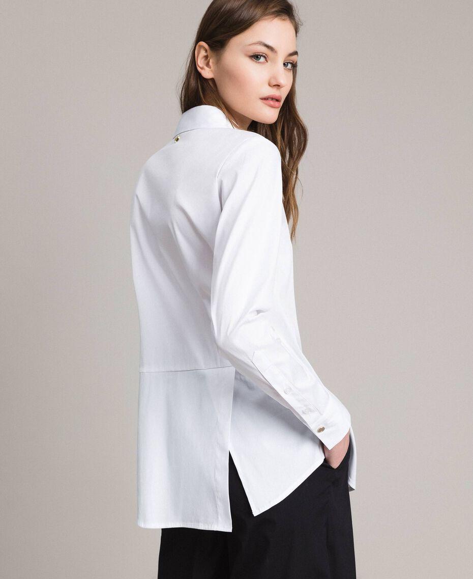 Popeline-Hemd mit Schleifen White Sahne Frau 191MP2216-06
