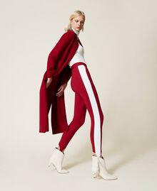 """Leggings bicolore con ghette Bicolor Lampone Scuro / Bianco """"Neve"""" Donna 212TP2163-01"""