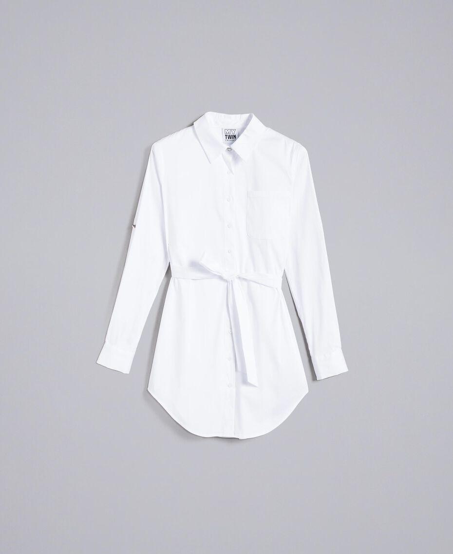 """Длинная рубашка из поплина-стрейч Белый """"Ice"""" женщина JA82JA-0S"""