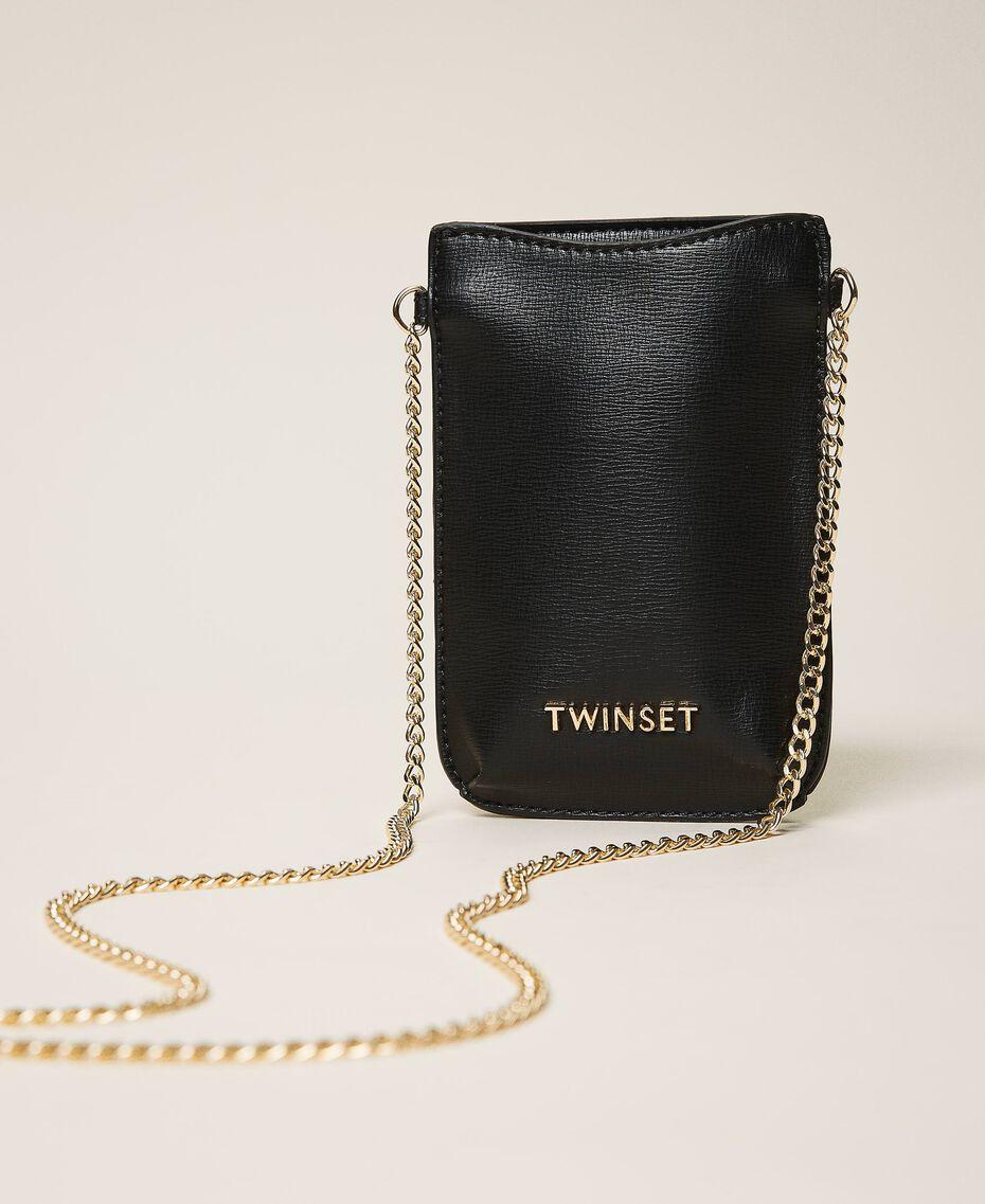 Smartphonetasche aus Lederimitat Schwarz Frau 202TD8118-01