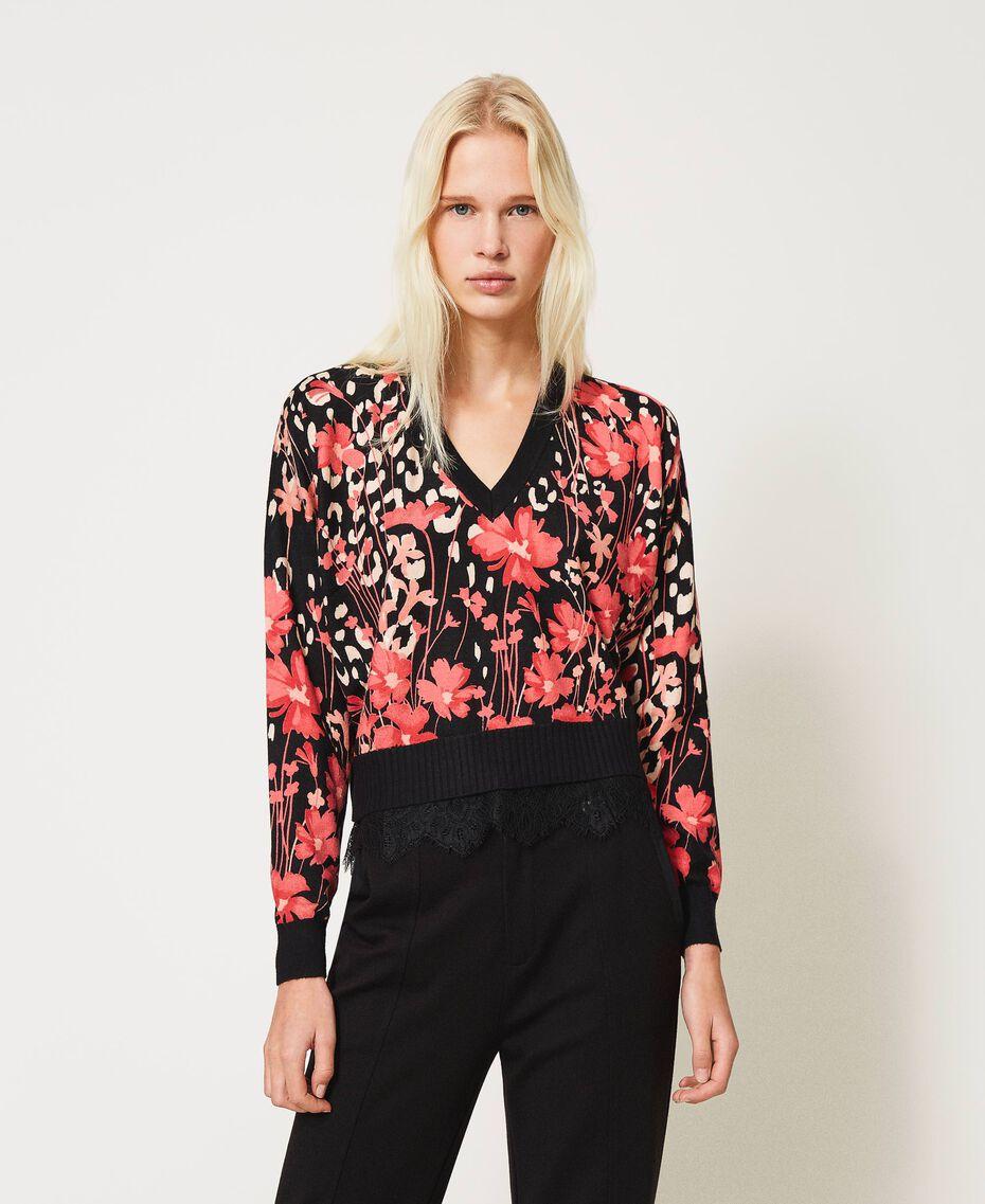 Jersey boxy de flores con encaje Estampado Animal Flowers Negro / Rojo «Cerise» Mujer 202TP3504-02