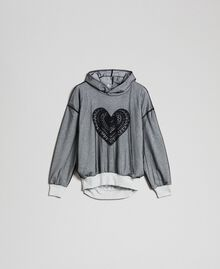 Tulle sweatshirt with embroidery Light Gray Mélange Woman 192LI2TBB-0S
