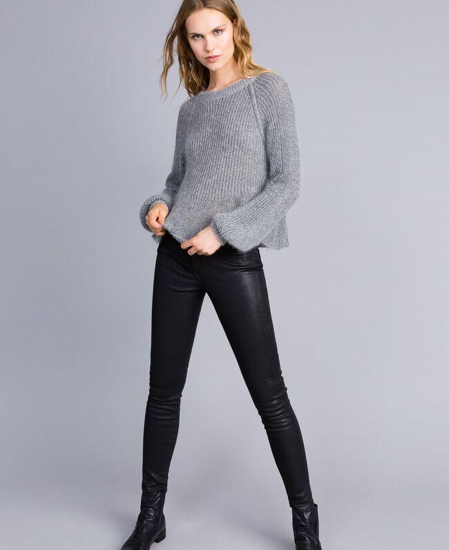 Lurex and mohair jumper Grey Silver Lurex Melange Woman TA832A-01