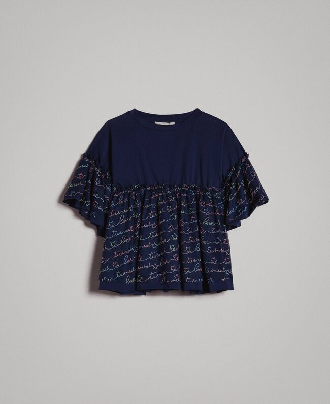 Jersey and tulle embroidered blouse with logo Indigo Child 191GJ2441-01