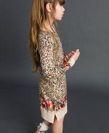 Ministrickkleid mit Animal- und Blumenprint Print Leopard / Blumen Kind 192GJ3180-02