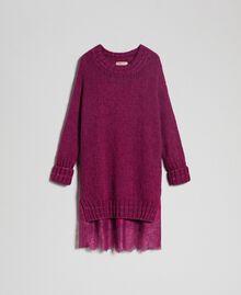 Kleid aus Mohair mit Lurexstreifen und Unterkleid Rote-Bete-Rot Frau 192TP3291-0S