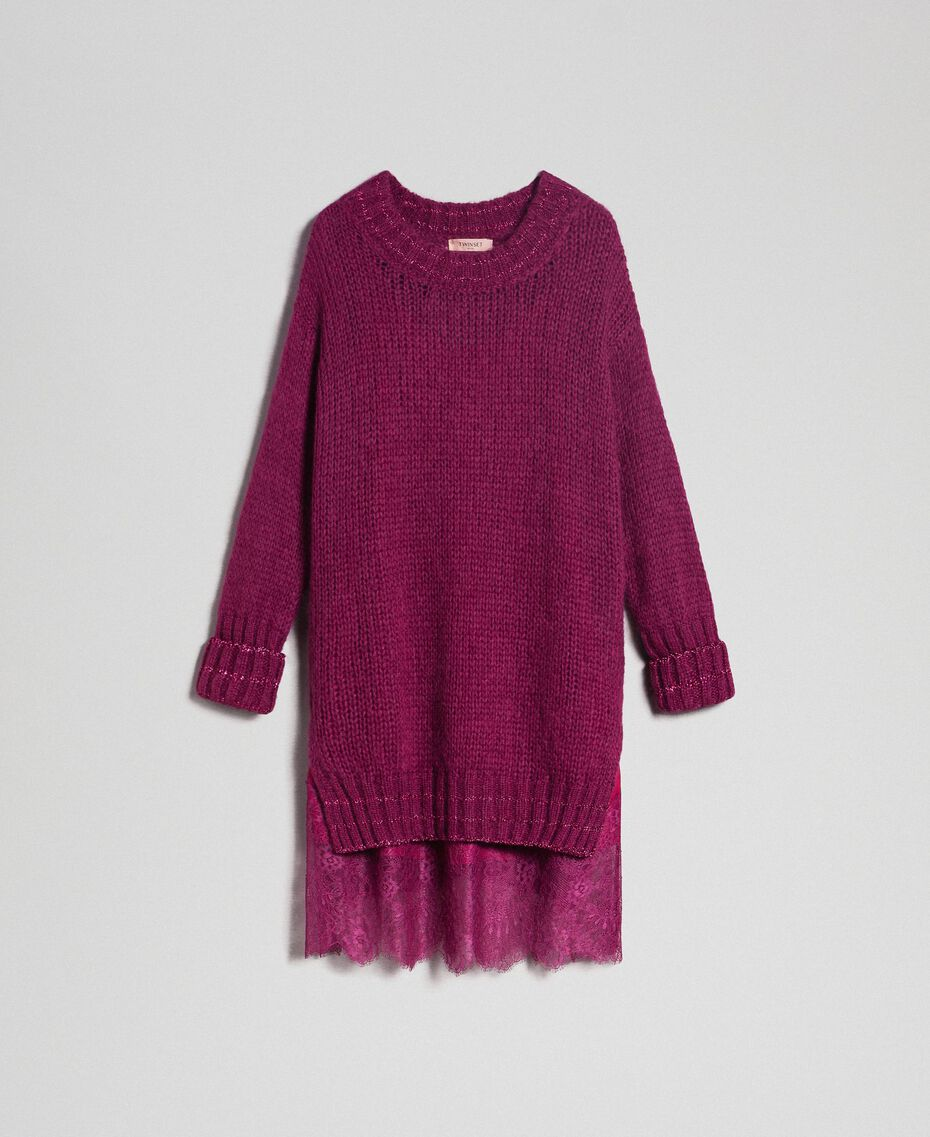 Mohair dress with lurex stripes and slip Beet Red Woman 192TP3291-0S