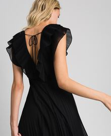 Pleated georgette long dress Black Woman 192TT2070-05
