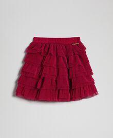 Falda de tul con volantes plisados Rojo Vino rubí Niño 192GB2110-01