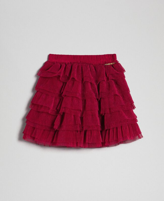 Jupe en tulle avec volants plissés Rouge Ruby Wine Enfant 192GB2110-01