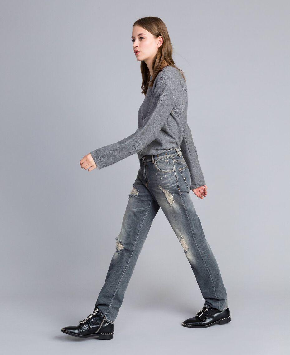 Jean effet vintage Denim Gris Femme JA82YB-02
