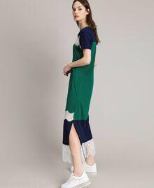 Robe longue color block avec dentelle Vert Evergreen Femme 191TP2271-01