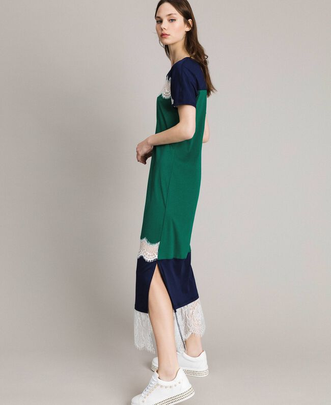 Long colour block dress with lace Evergreen Green Woman 191TP2271-01