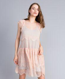 Robe en plumetis, dentelle et filet Bicolore Rose Nude/ Gris Clair Chiné Femme JA82HA-01