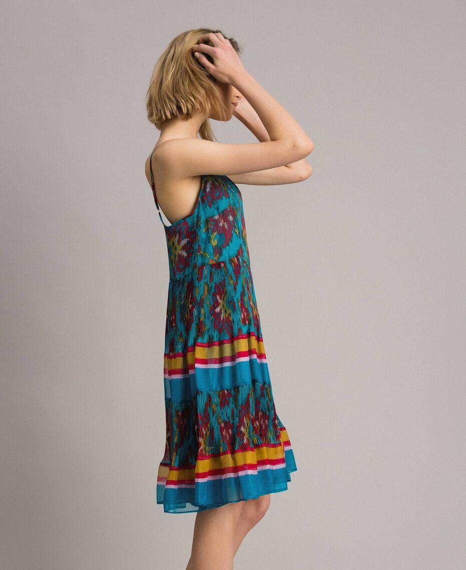 Robe en chiffon à imprimé motif floral Multicolore Chiné / Rayures Bleu Céramique Femme 191TT2364-02