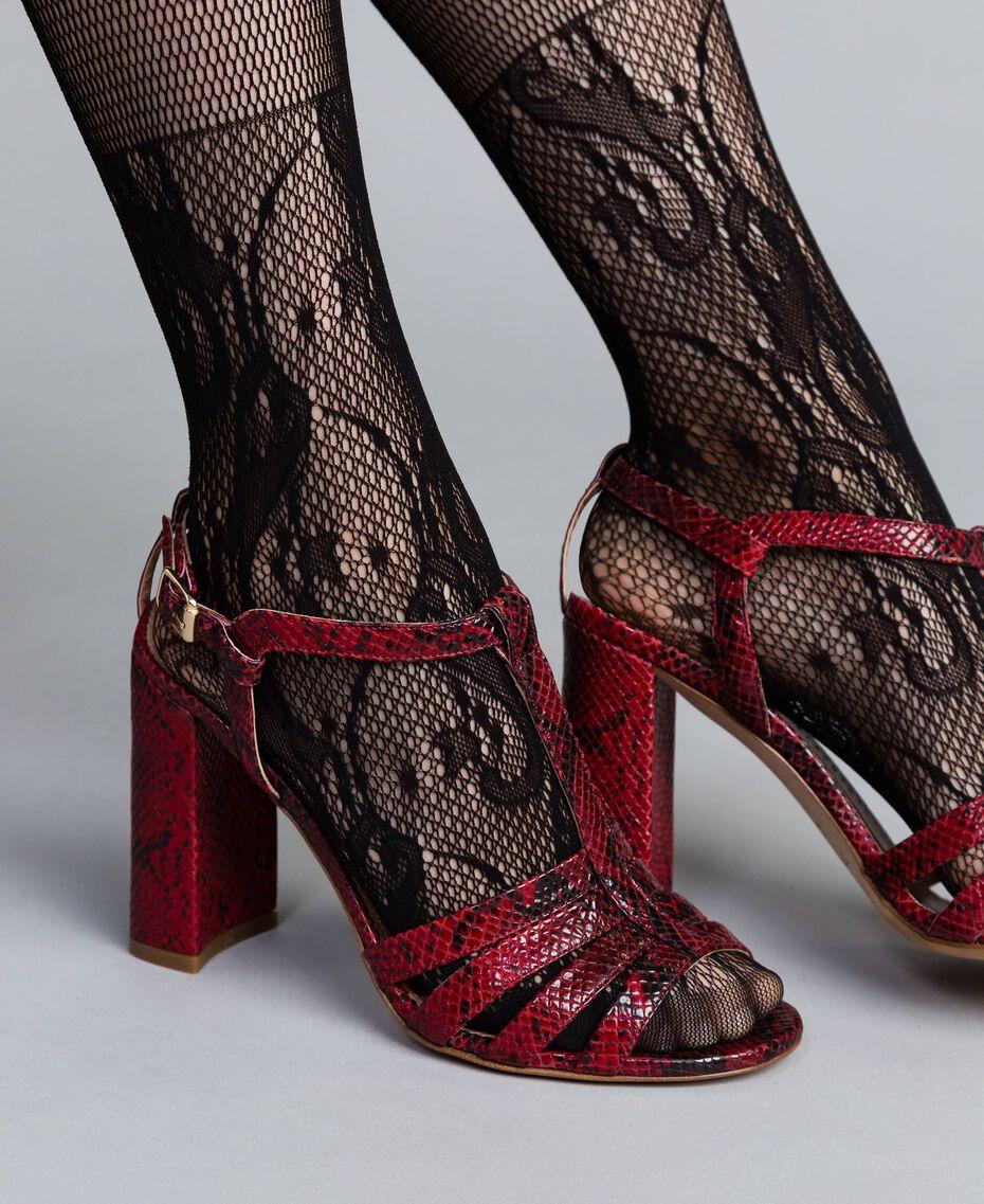Sandales en cuir animalier Python Bordeaux Femme CA8PQ3-0S