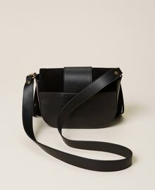 Leather shoulder bag with fringes Black Woman 212TB7120-04