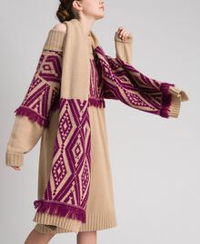 "Wool and cashmere scarf with fringes Ethnic ""Iced Coffee"" Brown/ Beet Red Jacquard Woman 192TA4418-0S"