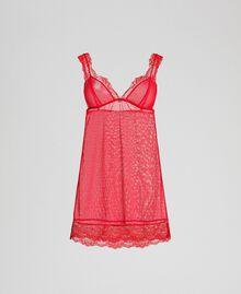 Nuisette en dentelle et tulle plumetis Rouge Ardent Femme 192LL6CZZ-0S