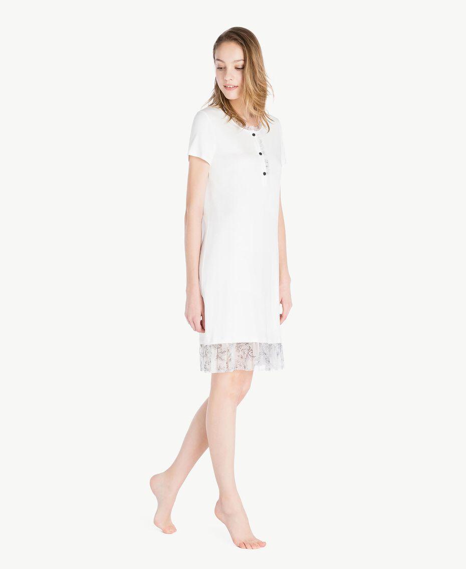 Nachthemd aus Jersey Elfenbein Frau LS8DJJ-03