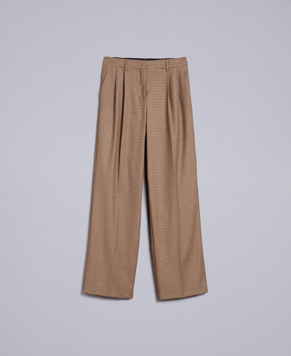 """Pantaloni palazzo in misto lana Jacquard Quadretti Arancione """"Bruciato"""" Donna TA821S-0S"""