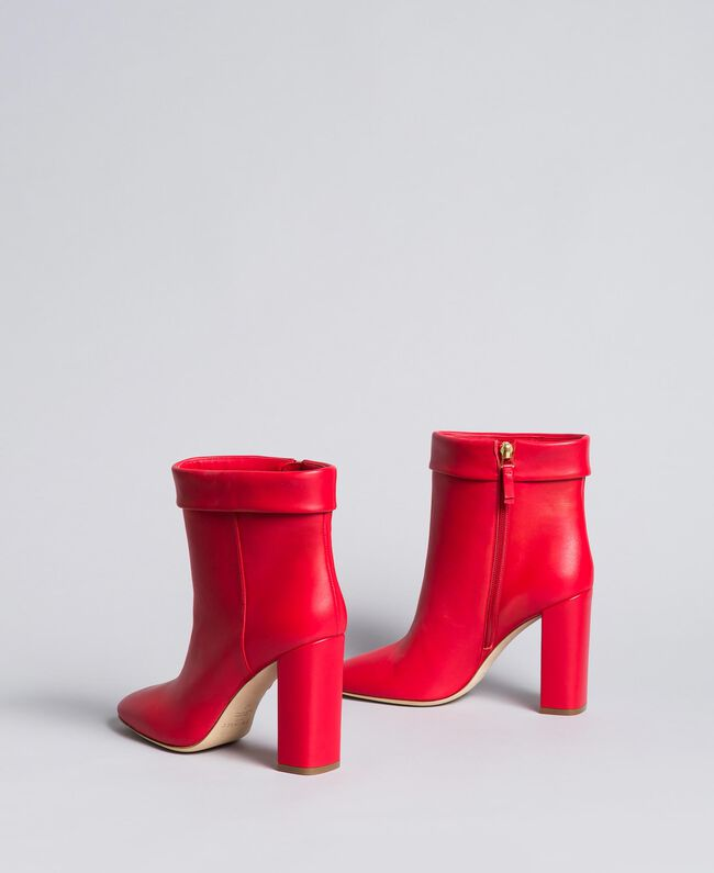 Leather ankle boots with cuff Poppy Red Woman CA8PLG-03
