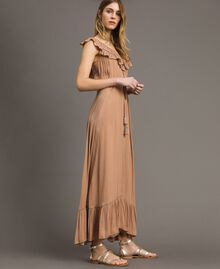 "Long dress in flowing glossy fabric ""Petra Sandstone"" Brown Woman 191LM2GAA-03"