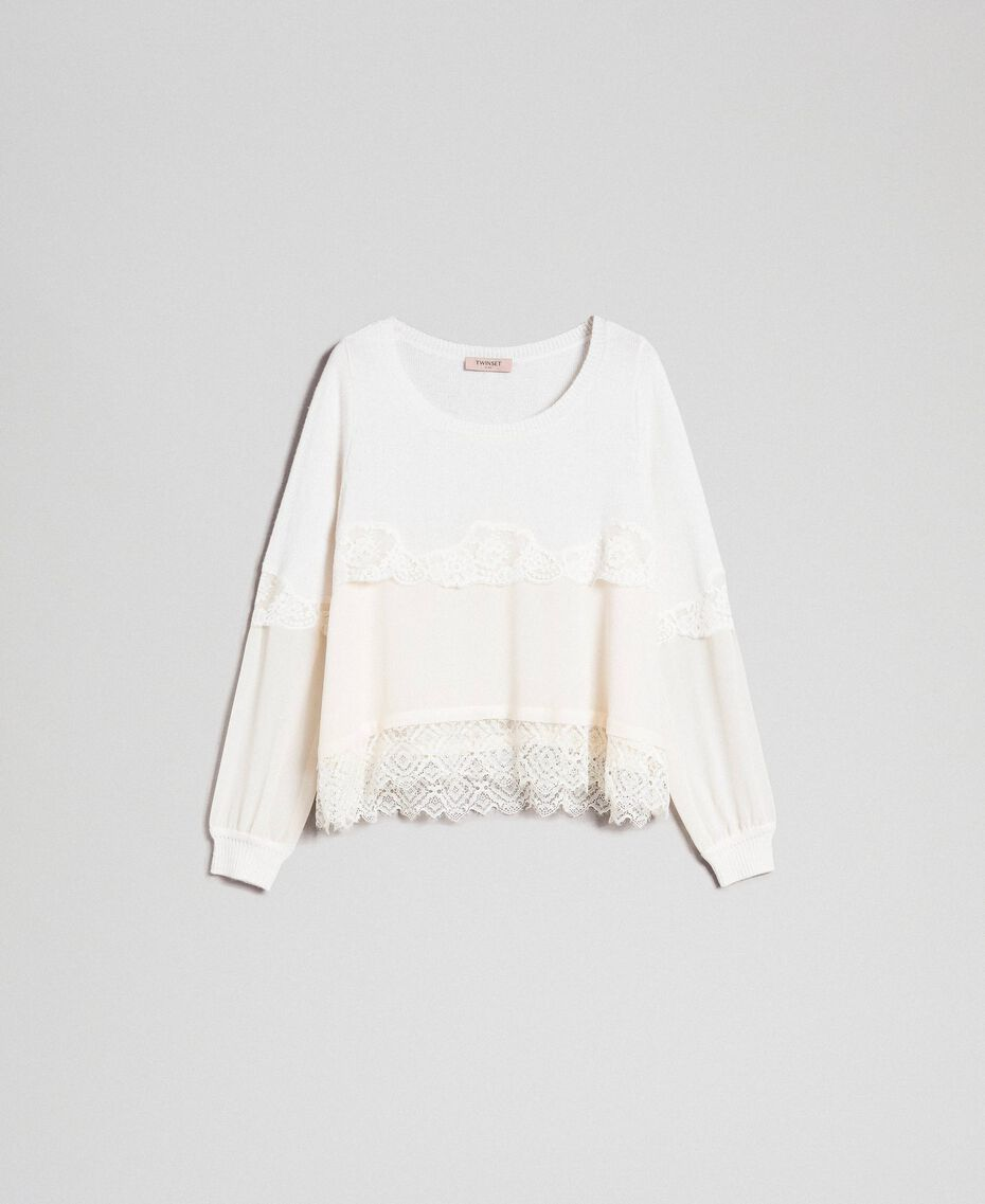 Jumper with georgette and lace Black Woman 192TT3082-0S